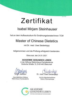 Zertifikat Chinese Dietetics