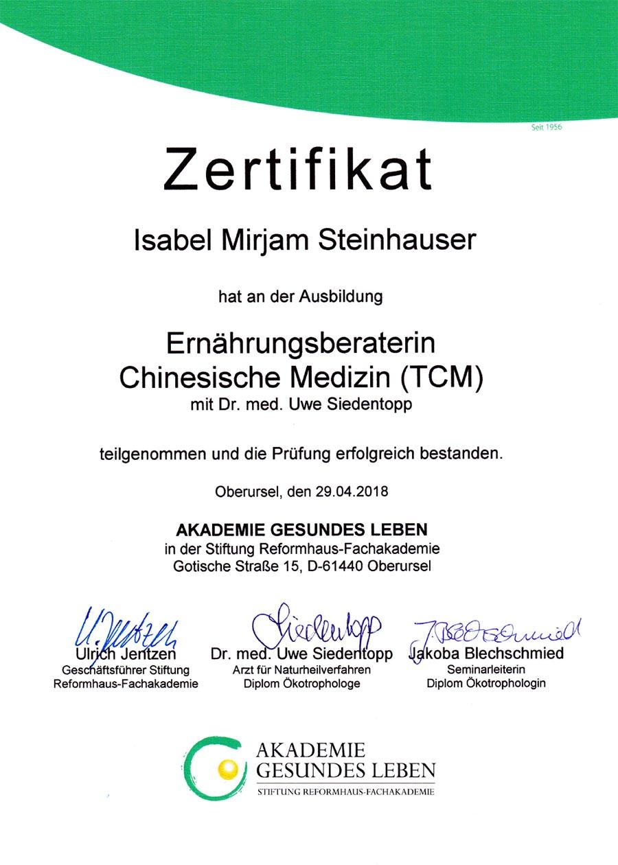Zertifikat TCM